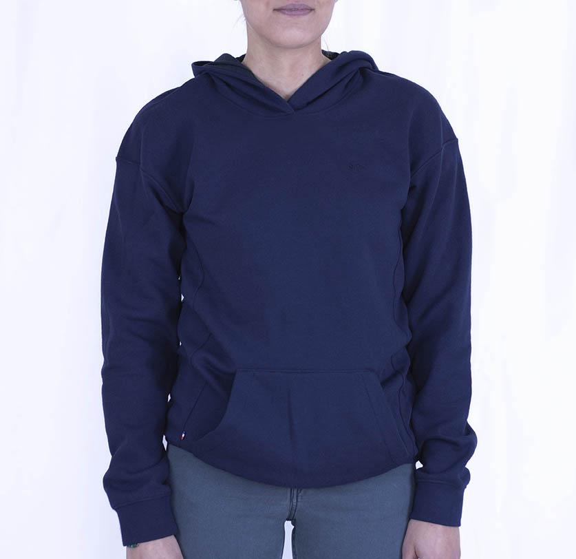 Sweat-capuche-bleu marine-recyclé-unisexe-made in France-et- écoresponsable